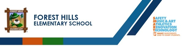 A graphic banner that shows Forest Hill Elementary school's name and logo with the SMART logo