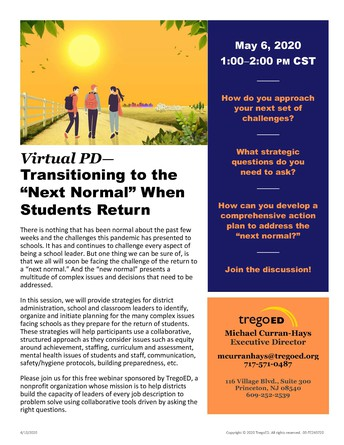Trego Ed Session: Transitioning to the Next Normal when Students Return