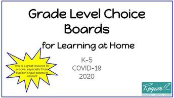 K - 5 Math Choice Boards