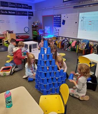 Cup stacks in Mrs. Rader's room