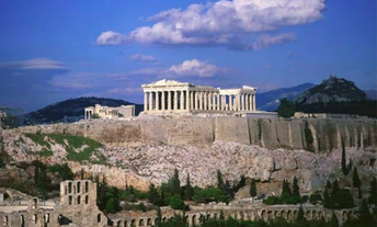 The Parthenon atop the Acropolis