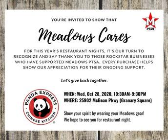 Meadows Cares Restaurant Night at Panda Express on 10/28