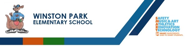 A graphic banner that shows Winston Park Elementary School's name and SMART logo