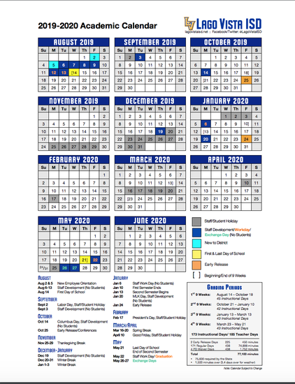 Download and print the 2019-2020 academic calendar (pdf)