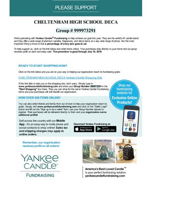 CHS DECA | Yankee Candle Fundraiser