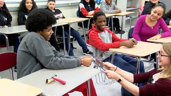 Umass faculty and students visit Holyoke STEM and perform science activities and experiments.