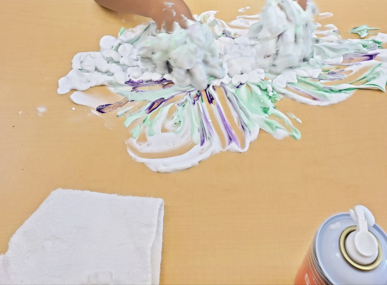 Sensory fun with shaving cream in the ISC