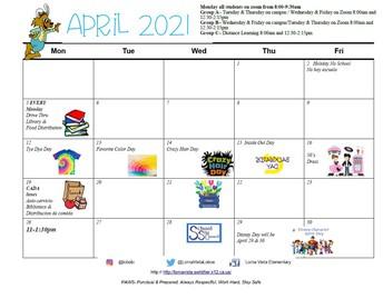 April  Calendar/ Calendario de abril