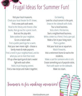 Frugal Ideas for Summer Fun