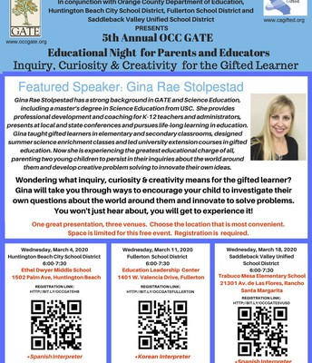 5th Annual OCC GATE Educational Night for Parents, Educators and Students