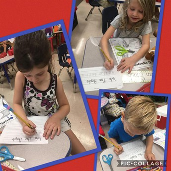 Kinder writing with Quills on Constitution Day