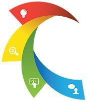 EduPaths Logo - Sweeping Rainbow with light bulb, magnifying glass, finger on a tablet and a person asking questions