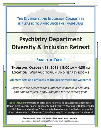 Save the Date! - October 18 - Diversity and Inclusion Retreat