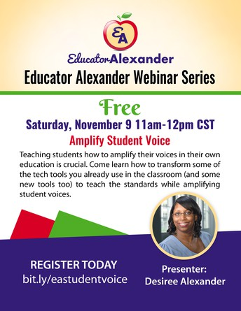 LAST CHANCE TO REGISTER FOR FREE WEBINAR: AMPLIFY STUDENT VOICE