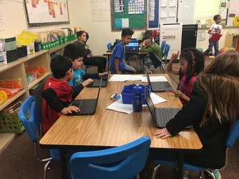 Mr. Brueckner's 2nd grade class use the Chromebook computers for a writing activity.
