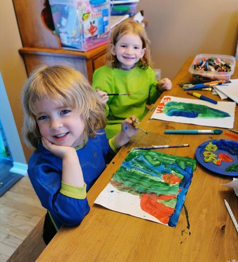 Eloise and Evelyn were busy painting