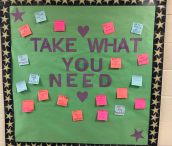 Hallway Bulletin Board with Positive Notes