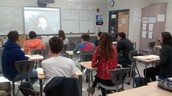 Chinese students skyping with Serene Wan from China.