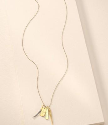 Signature Engravable Charm Necklace Gold