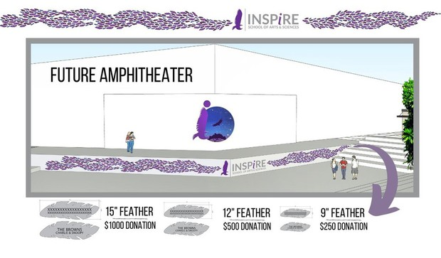 Graphic rendering image of Inspire's future amphitheater. Purple and teal feathers along walk way with students out and about.