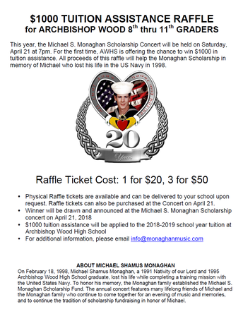 Archbishop Wood $1000 Tuition Raffle/Monaghan Scholarship Concert