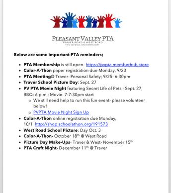 Important PTA dates