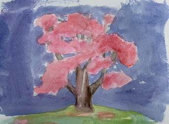 Water color tree with red leaves