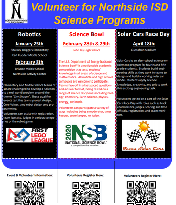Volunteers Needed for NISD Science Programs