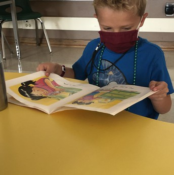 Student reading book