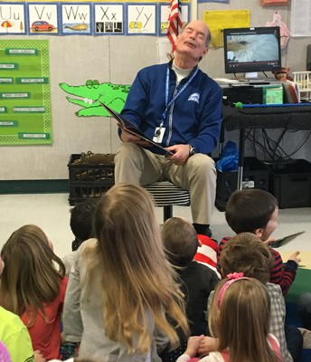 Reading to classes and having a howling good time