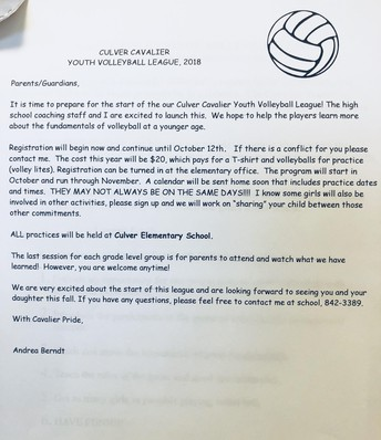 Volleyball K-2 Signup Sheet