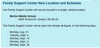 Family Support Center Update