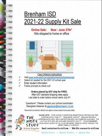Order your school supply kit online
