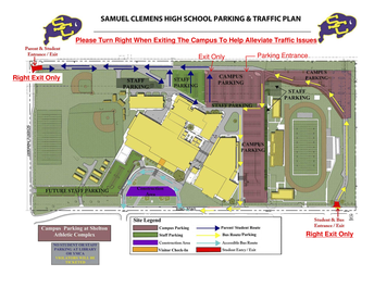 Image of revised traffic flow patter for entering and exiting Clemens High School parking lots