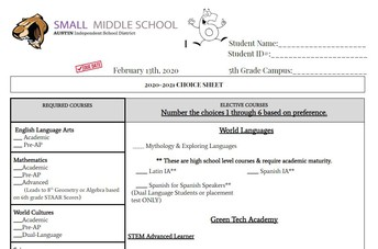 6th Grade Choice Sheet & Enrollment Form