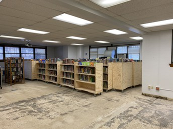 Temporary library shelving during renovation (will be spread out by next week)