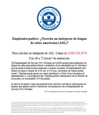 Necesita un intreprete de ASL?