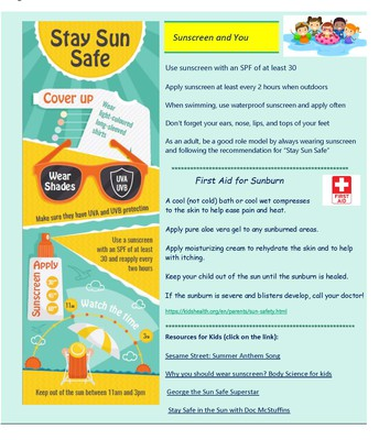 School Health Newsletter: Summer Sun Safety page 2