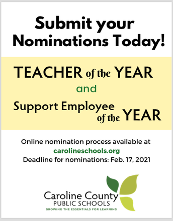 Nominations Open for Teacher of the Year/Support Staff of the Year