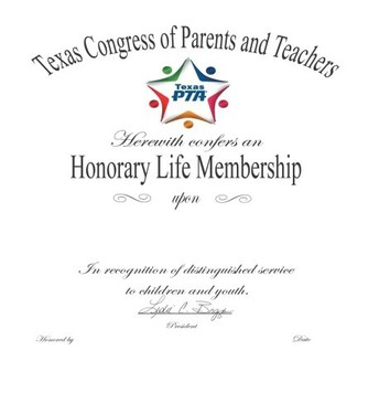 NOMINATIONS OPEN: TEXAS PTA HONORARY LIFE MEMBER DUE BY FEBRUARY 9TH