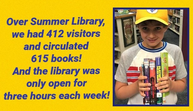Thank you PTO for all of your support. Our Summer Library was a big hit!