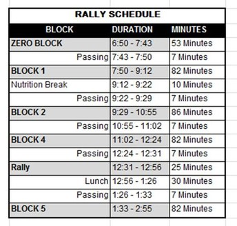 Monday, May 20 is a Rally Schedule