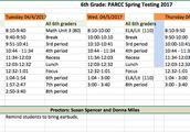 6th Grade PARCC Schedule