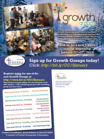 NEW WINTER SESSION OF GROWTH GROUPS LAUNCHING JANUARY 21-27!