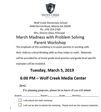 March 7th Parent Math Workshop