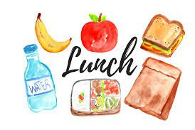 lunch: water, banana, salad, apple, sandwich, paper bag