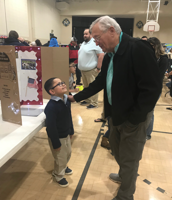 Mr. Sandburg visiting with George Bush Sr.