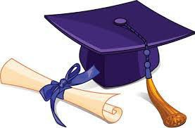 cartoon mortarboard and diploma graphic