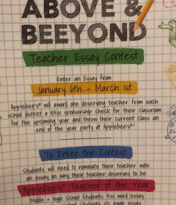 Your child can participate in the Teacher Essay Contest at Applebees