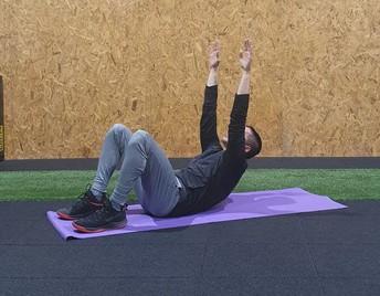 בטן: בשכיבה על הגב, ניתוק שכמות וכפיפת בטן